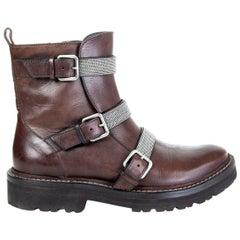 BRUNELLO CUCINELLI brown leather MONILI TRIPLE STRAP MOTO Boots Shoes 37
