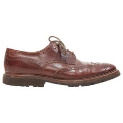 BRUNELLO CUCINELLI brown leather perforated leather rubber sole oxford shoe EU44