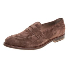 Brunello Cucinelli Brown Suede And Leather Penny Loafers Size 42