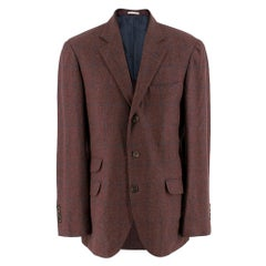 Brunello Cucinelli Burgundy Check Blazer IT 50