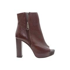 Brunello Cucinelli Burgundy Leather Platform Ankle Boots