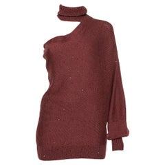 Brunello Cucinelli Burgundy & Silk Sequin Embellished Off Shoulder Pullover M