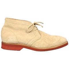 BRUNELLO CUCINELLI Camoscio Size 8.5 Stone Suede Ankle Boots