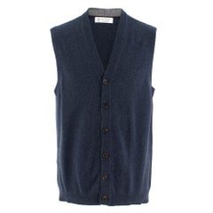 Brunello Cucinelli Cashmere Blue Sleeveless Cardigan 52 (Italy)
