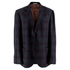 Brunello Cucinelli Checked Wool Men's Single Breasted Jacket - Size XL - EU 52