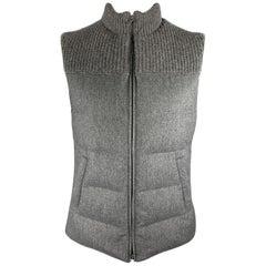 BRUNELLO CUCINELLI Chest Size L Grey Quilted Wool / Silk / Cashmere Zip Up Vest