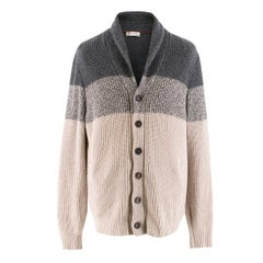 Brunello Cucinelli Colorblock Cashmere Knit Cardigan IT 52