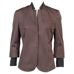Brunello Cucinelli Cotton Jacket with Silk Knit Collar and Cuffs and Half Belt