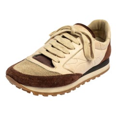 Brunello Cucinelli Cream/Brown Suede And Leather Low Top Sneakers Size 36.5