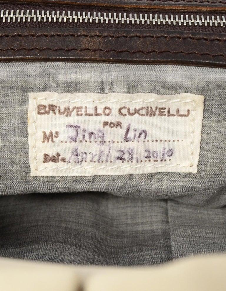 c7cc7e076b8a Brunello Cucinelli Cream Leather Tote Bag W  Brown Leather Straps For Sale 5