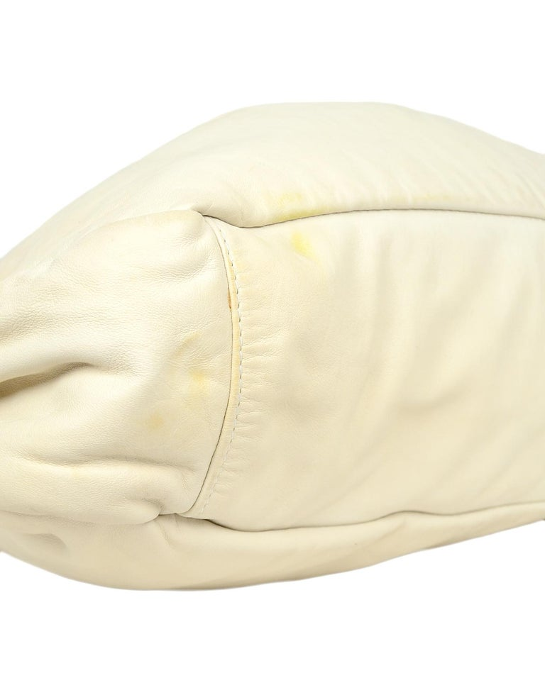 b4c9741855a0 Brunello Cucinelli Cream Leather Tote Bag W  Brown Leather Straps For Sale 1
