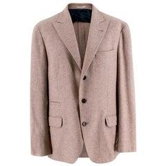 Brunello Cucinelli Cream Wool, Silk & Cashmere Tailored Jacket - Size XL 52