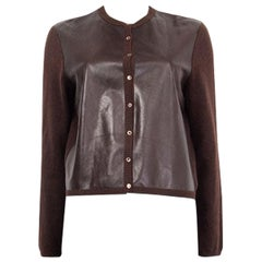 BRUNELLO CUCINELLI dark brown leather & cashmere Cardigan Sweater L