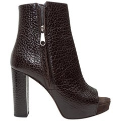 Brunello Cucinelli Dark Brown Leather Peep-Toe Booties