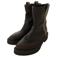 Brunello Cucinelli Dark Brown Weathered Leather w/ Metallic Silver Accents Boots