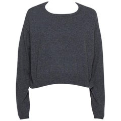 Brunello Cucinelli Dark Grey Cashmere Crop Sweater XXL