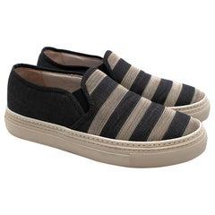 Brunello Cucinelli Denim Monili Bead Striped Slip-on Sneaker 37