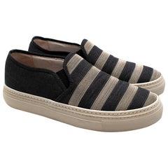 Brunello Cucinelli Denim Monili Bead Striped Slip-on Sneaker - Size EU 37