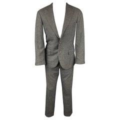BRUNELLO CUCINELLI for WILKES BASHFORD Size 38 Charcoal & Grey Glenplaid Suit