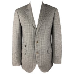 BRUNELLO CUCINELLI Gray Gingham Wool / Linen / Silk Blend Notch Lapel Sport Coat