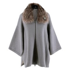 Brunello Cucinelli Grey Cashmere Knit Jacket with Raccoon Fur Collar - Size L