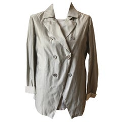 Brunello Cucinelli Grey Fine Cashmire/Silk Sweater w/Cotton/Silk Jacket 48 (ITL)