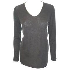 Brunello Cucinelli Grey Pullover Sweater With Monili Detail on Neckline