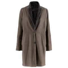 Brunello Cucinelli Grey Reversible Sheepskin & Silk Coat 42 S