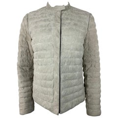 Brunello Cucinelli Grey Suede and Nylon Puffer Jacket Size 44