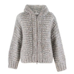 Brunello Cucinelli Hooded Sequin-Embellished Knit Jacket XXS