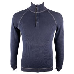 BRUNELLO CUCINELLI L Navy Ribbed Knit Cotton Hidden Buttons Pullover Sweater