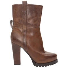 Brunello Cucinelli Leather Brown Heeled Boots