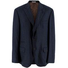 Brunello Cucinelli Mens Pinstripe Navy Tailored Jacket - Size IT 52