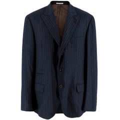 Brunello Cucinelli Mens Pinstripe Navy Tailored Jacket - Size XL IT 52