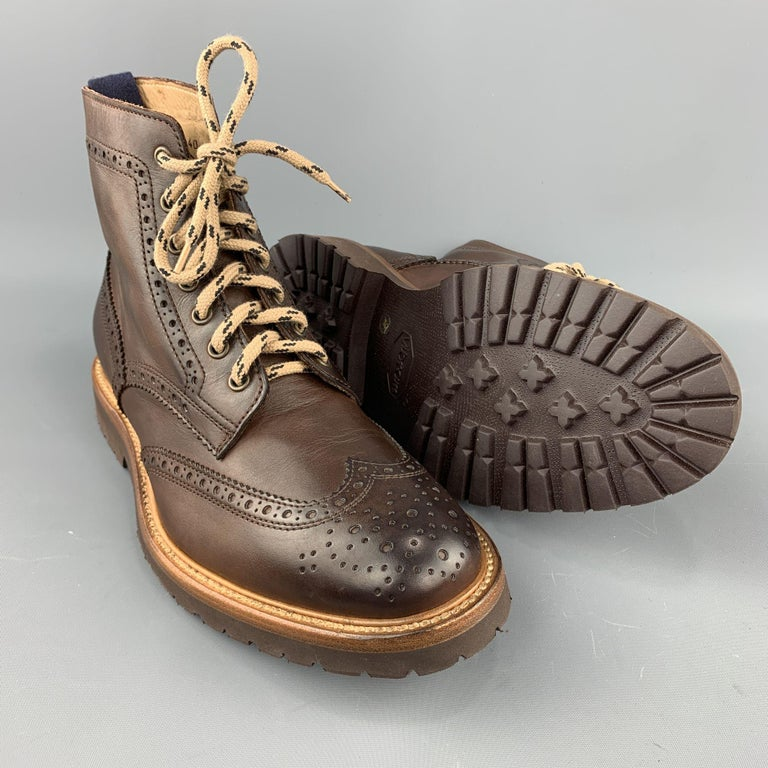 BRUNELLO CUCINELLI Men's Size 7 / EU 40 Brown Perforated Leather Lace Up Boots In New Condition For Sale In San Francisco, CA
