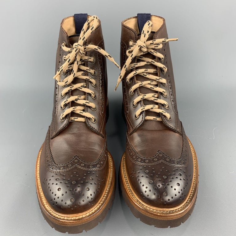 BRUNELLO CUCINELLI Men's Size 7 / EU 40 Brown Perforated Leather Lace Up Boots For Sale 1