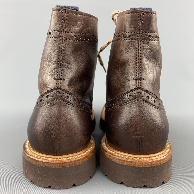 BRUNELLO CUCINELLI Men's Size 7 / EU 40 Brown Perforated Leather Lace Up Boots For Sale 2