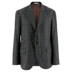 Brunello Cucinelli Men's Wool, Silk Cashmere Single Breasted Jacket Size L EU 52