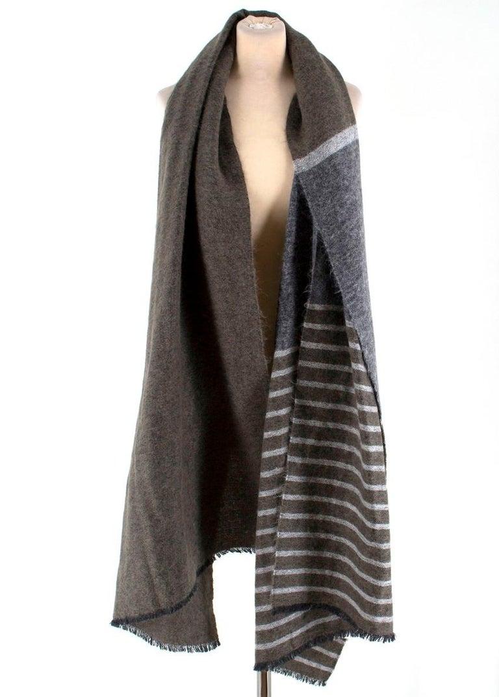 Gray Brunello Cucinelli Mohair, Alpaca & Cashmere XL Striped Shawl For Sale