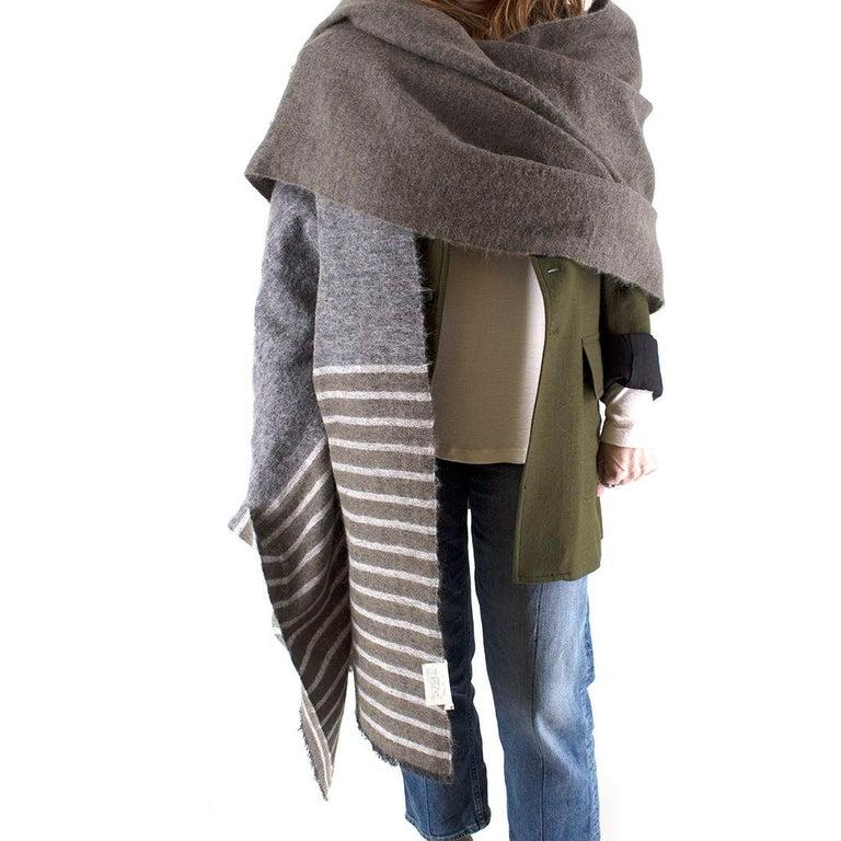Brunello Cucinelli Mohair, Alpaca & Cashmere XL Striped Shawl For Sale 3