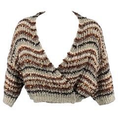 BRUNELLO CUCINELLI Multi-Color Sequin Cotton Blend Cropped Cardigan