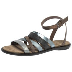 Brunello Cucinelli Multicolor Leather And Fabric Monile Crossover Ankle Strap Fl