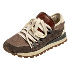 Brunello Cucinelli Multicolor Mesh And Suede Low Top Sneakers Size 36