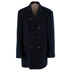 Brunello Cucinelli Navy Cashmere Double Breasted Coat 50