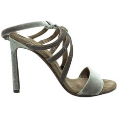Brunello Cucinelli Olive Green Velvet Monili-Embellished Sandals