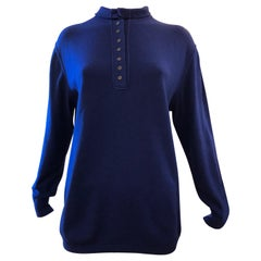 Brunello Cucinelli Royal Blue High Necked Cashmere and Silk Sweater M+
