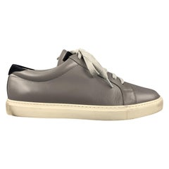 BRUNELLO CUCINELLI Size 10 Grey & Navy Leather Lace Up Sneakers