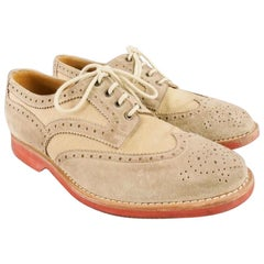 BRUNELLO CUCINELLI Size 10 Taupe Perforated Canvas Wingtip Lace Up Shoe