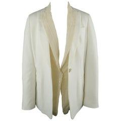 BRUNELLO CUCINELLI Size 2 White Jersey Beige Sequin Chiffon Double Lapel Jacket