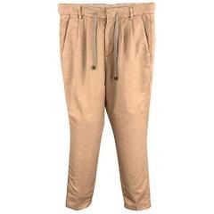 BRUNELLO CUCINELLI Size 28 Tan Linen / Cotton Drawstring Casual Pants